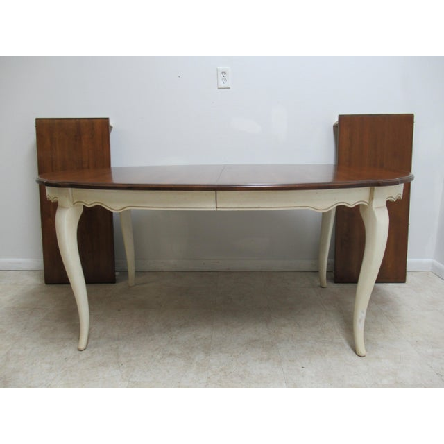 French Country Ethan Allen Dining Room Banquet Table For Sale - Image 12 of 12