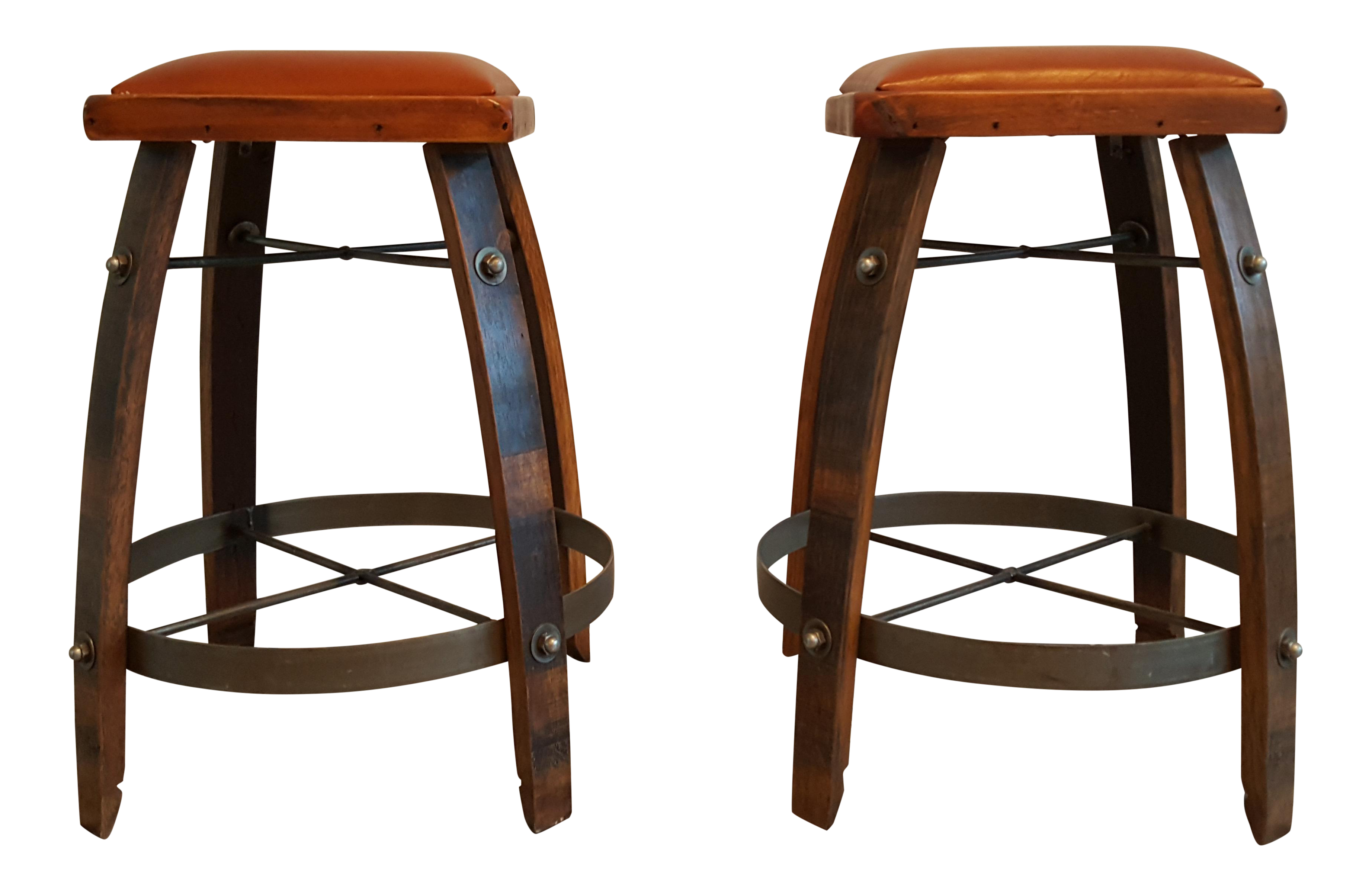 Vintage Reclaimed Wine Barrel Bar Stools A Pair Chairish