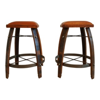 Vintage Reclaimed Wine Barrel Bar Stools - A Pair For Sale