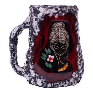 Mid-Century Italian Modern San Marino Fat Lava Ceramic and Enamel Mug / Vase With Handle For Sale