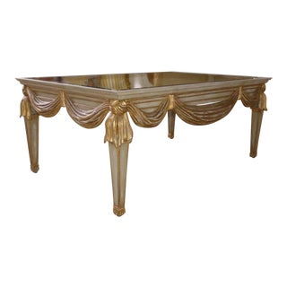 La Barge Hand Carved Wood Swag Apron Coffee Table With Mirrored Glass Top For Sale