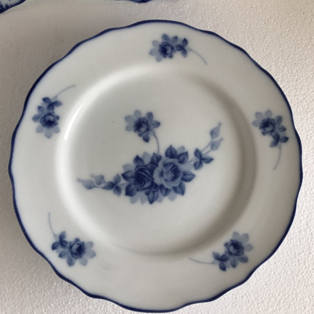 Ceramic Harry & David Blue and White Rose Dishes - Set of Six For Sale - Image 7 of 10