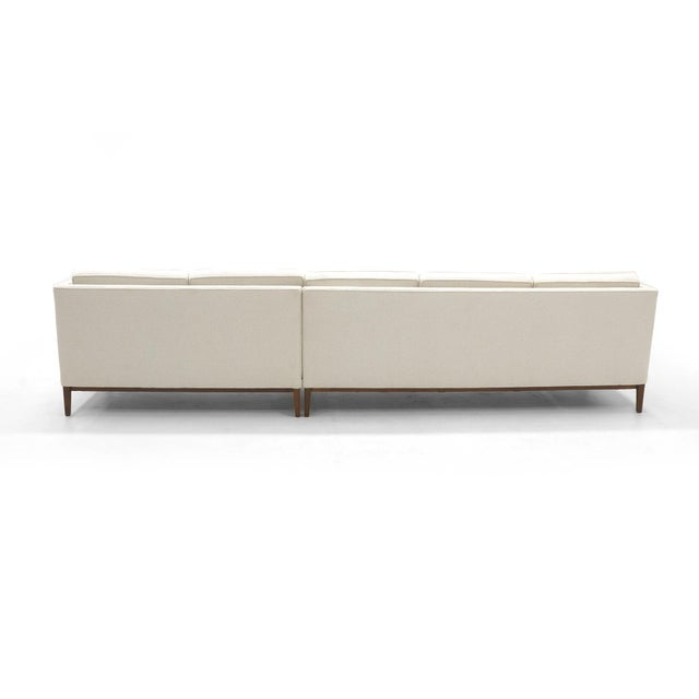 Mid-Century Modern Sectional Sofa, Five-Seat, Two-Piece, Even Arm, Off White, Restored, Excellent For Sale - Image 3 of 8