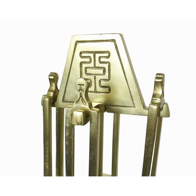 James Mont Style Asian Inspired Brass Fireplace Tools- Set of 5 - Image 2 of 5