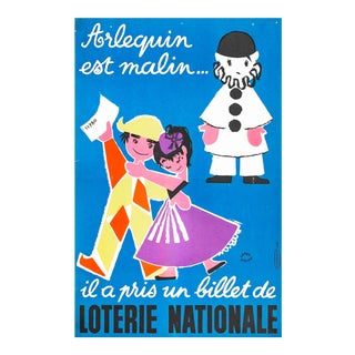 1957 French Poster, Loterie Nationale Advertisement, Arlequin Est Malin For Sale