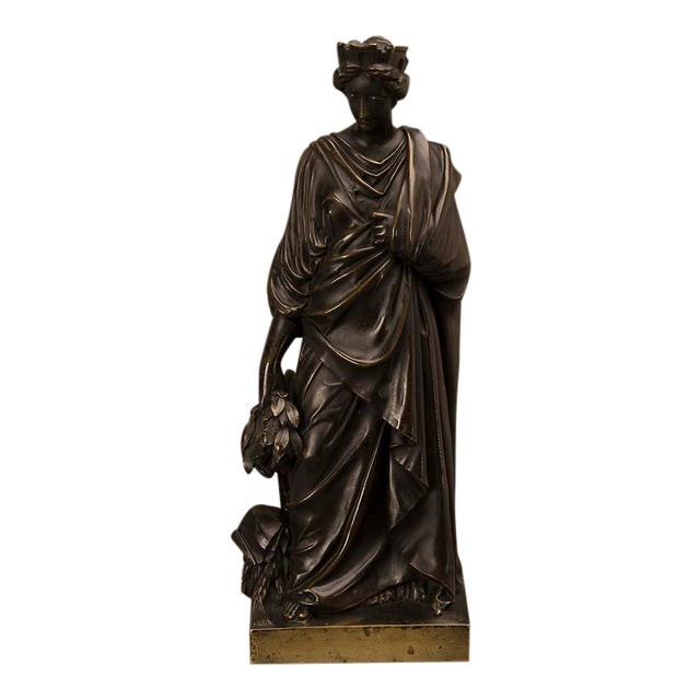 19th Century French Bronze Roman Goddess Sculpture of Tyche For Sale