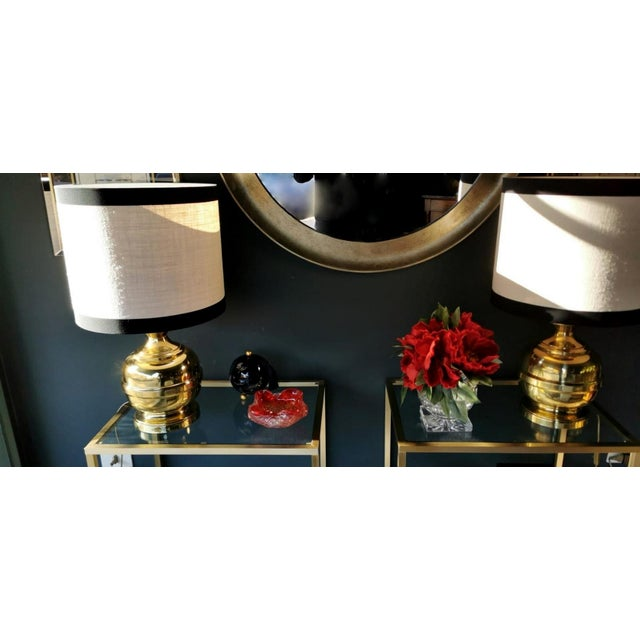 Vintage Italian Table Lamps in Polished Brass - a Pair For Sale - Image 10 of 13