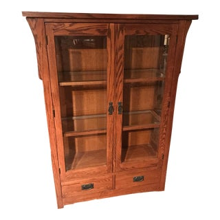 Arts and Crafts Style Oak Display Cabinet