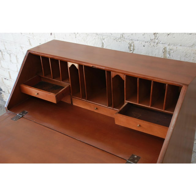 Metal 18th Century Early American Chippendale Cherry Wood Drop-Front Secretary Desk For Sale - Image 7 of 13