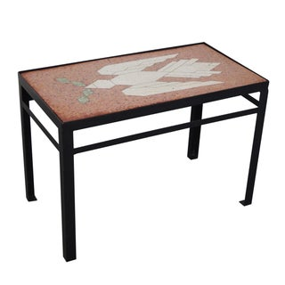 Studio Crafted Inlaid Bird of Peace Side Table For Sale