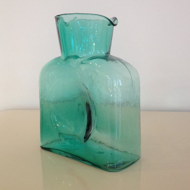 Mid-Century Modern 1960's Sea-Green Blenko Pitcher For Sale - Image 3 of 4