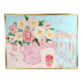 Large Mid-Century Painting Abstract Watering Can W Flowers Atelier De Tircso For Sale