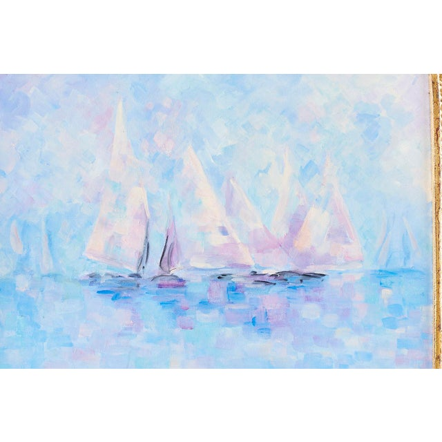 Midcentury Oil on Canvas Painting of Sailboats For Sale In San Francisco - Image 6 of 13