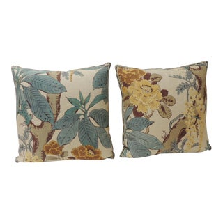 Pair of Floral Linen Decorative Pillows For Sale