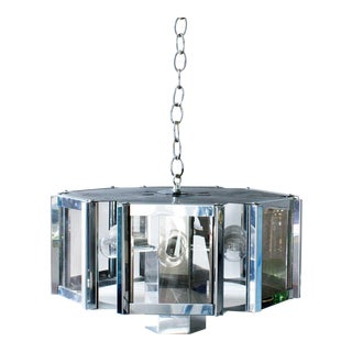 Fredrick Ramond Smoke Glass Chrome Hexagonal Chandelier For Sale