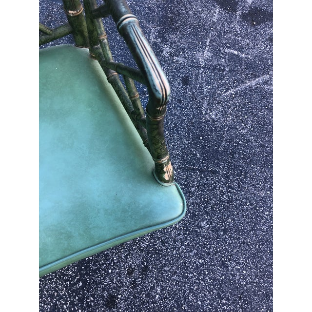 Hollywood Regency Antique Painted Malachite Arm Chair For Sale - Image 3 of 10