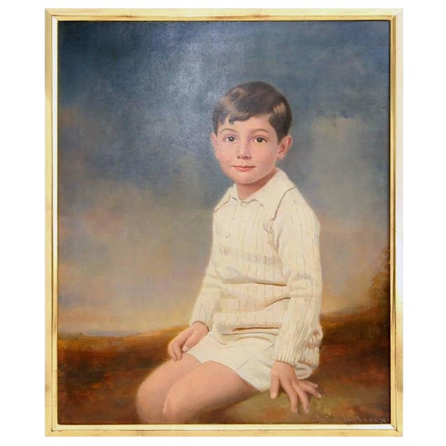 1929 Seated Young Boy Portrait Painting by Joshua Smith R.B.A. For Sale