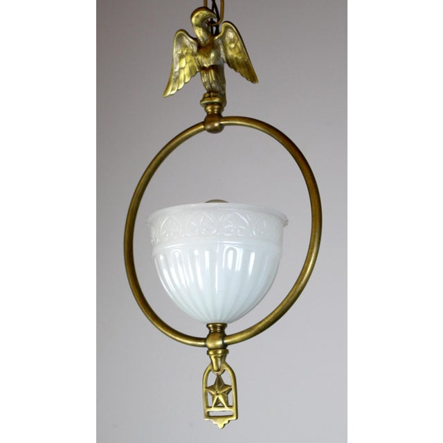 Hall Pendant with Eagle Motif and Original Shade. For Sale - Image 5 of 8