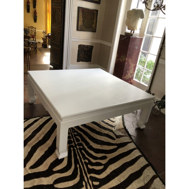 1980s Large Square Asian Modern Linen Wrapped Coffee Table in the Style of Karl Springer For Sale - Image 5 of 12