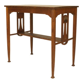 English Arts & Crafts Oak Table Desk For Sale