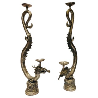 Asian Dragon Silvered Cast Metal Candle Stands Sculptures - a Pair For Sale