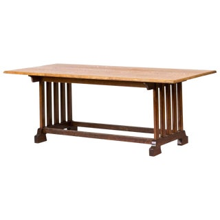 1940s England Arts and Crafts Table in Oak With Slated Base and Double Stretcher For Sale