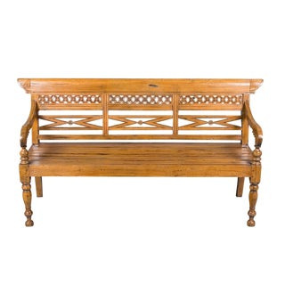 Reclaimed Pine Carved Bench For Sale