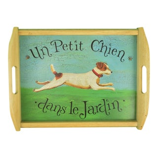 """1980s Vintage """"Un Petit Chien""""Jack Russell Oak Bar Tray"""