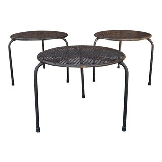 Vintage Gothic Wrought Iron Side Tables - SEt of 3 For Sale