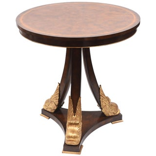 Vintage Gilt Dolphin Mahogany Table, Signed Maitland-Smith, Round Nicely Sized For Sale