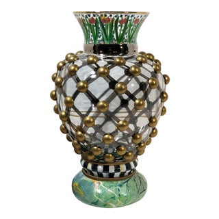 1980s MacKenzie-Childs Lattice Bauble Floral Glass Tulip Urn For Sale