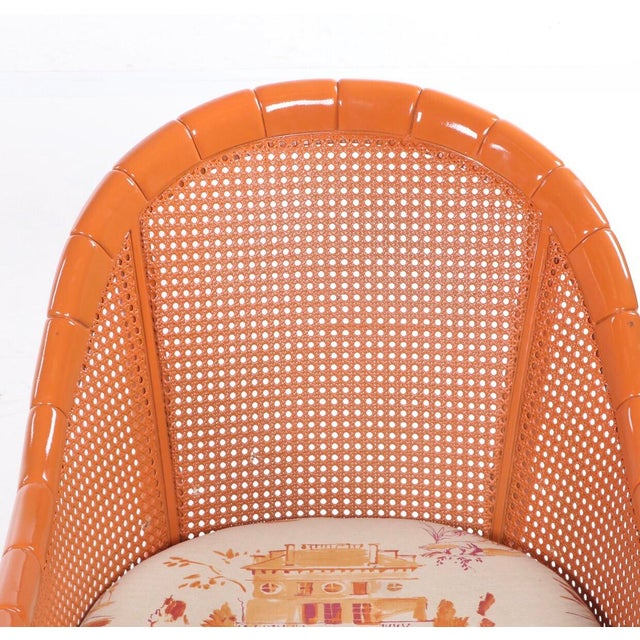 Chinoiserie Vintage Mid Century Orange Lacquered Vintage Cane Bamboo Lounge Chairs- A Pair For Sale - Image 3 of 7