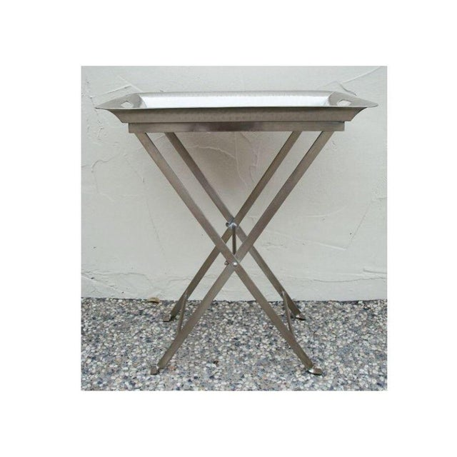 Silver Hammered Removable Tray Table For Sale - Image 4 of 6
