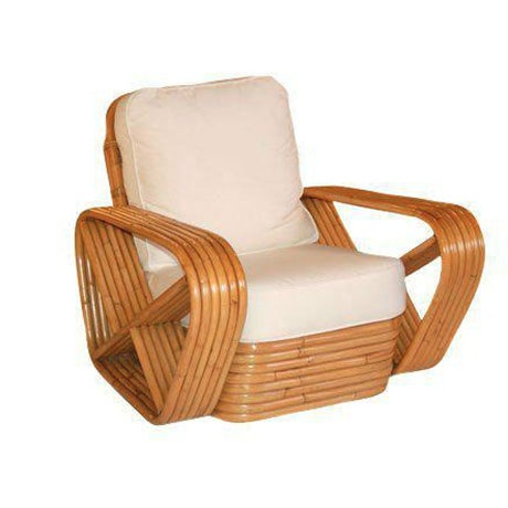 Restored Paul Frankl Inspired Square Pretzel Rattan Armchairs - Image 2 of 2