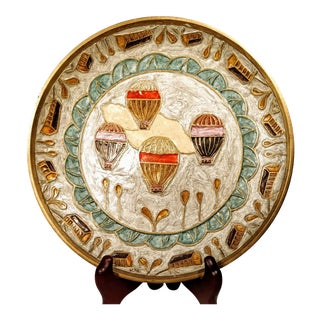 Late 20th Century Vintage Enamel Brass Hot Air Balloons Decorative Plate For Sale