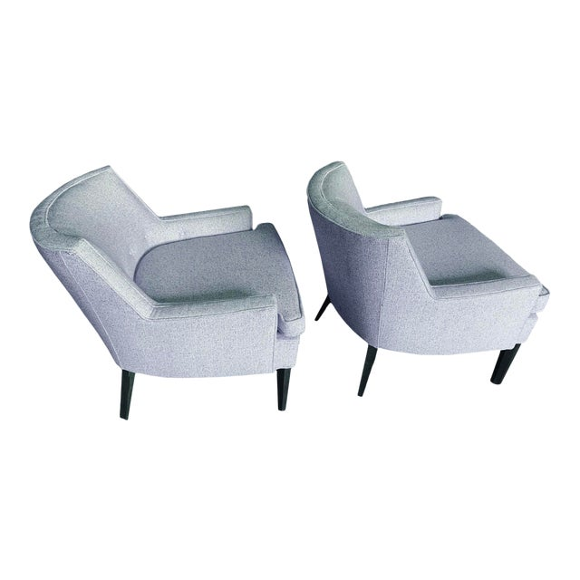 Thomas O'Brien for Century Furniture Blue Tweed Accent Chairs - a Pair For Sale