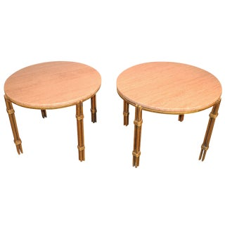 Pair of Arturo Pani Metal and Travertine Side Tables For Sale