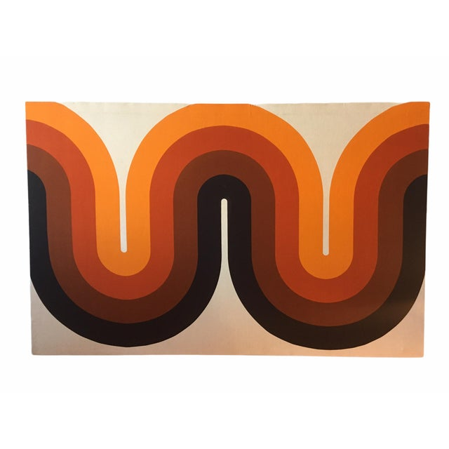 Burnt Orange Mid-Century Stretched Canvas Screen-Print by Verner Panton For Sale - Image 8 of 8