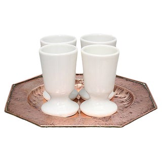 French Copper & Ceramic Coffee Set, 5Pcs For Sale