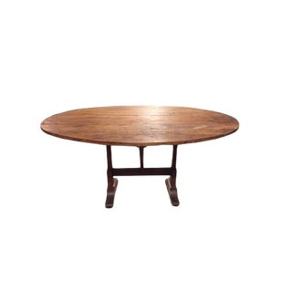 19th Century French Oval Wine Tasting Table With Pine Top For Sale