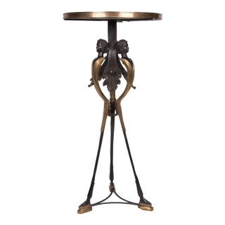 Bronzed and Burnished Metal Empire Style Pedestal with Marble Top