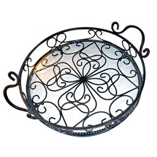 1970s Spanish Revival Scrolling Wrought Iron & Clear Glass Display Tray For Sale