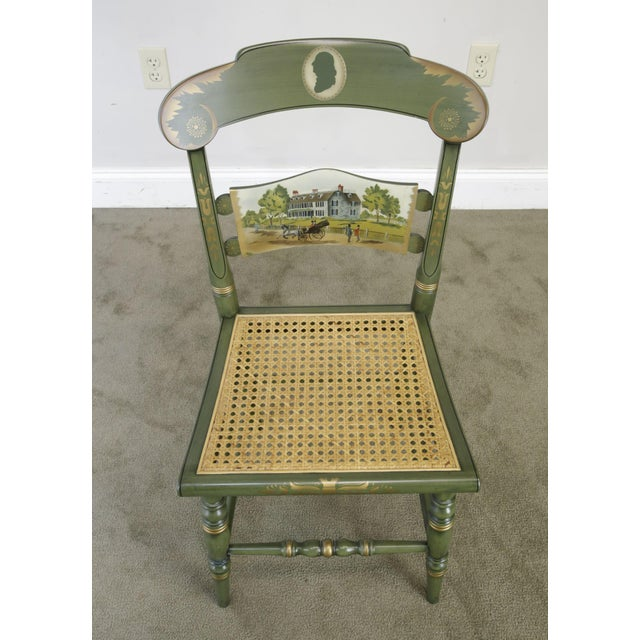 """Traditional Hitchcock """"The Adam's Old House"""" Green Painted Side Chair For Sale - Image 3 of 13"""