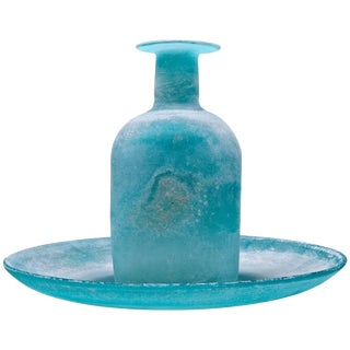 Mid-Century Cenedese Scavo Sea Grey-Blue Bowl and Bottle Set in Romanesque Forms For Sale
