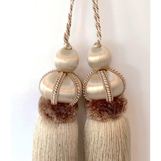 2010s Taupe Key Tassel With Cut Velvet Ruche - a Pair For Sale - Image 5 of 10