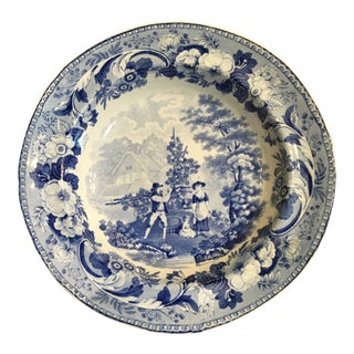 1820 Antique English Rural Scenery Blue & White Bowl For Sale