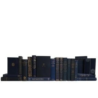Vintage World History Book Set in Denim & Gilt, S/20 For Sale