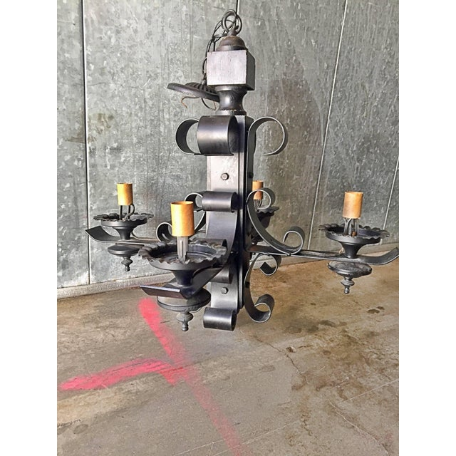 Vintage Wrought Iron Wood Gothic Tudor Medieval Chandelier Ceiling Light Fixture For Sale - Image 13 of 13