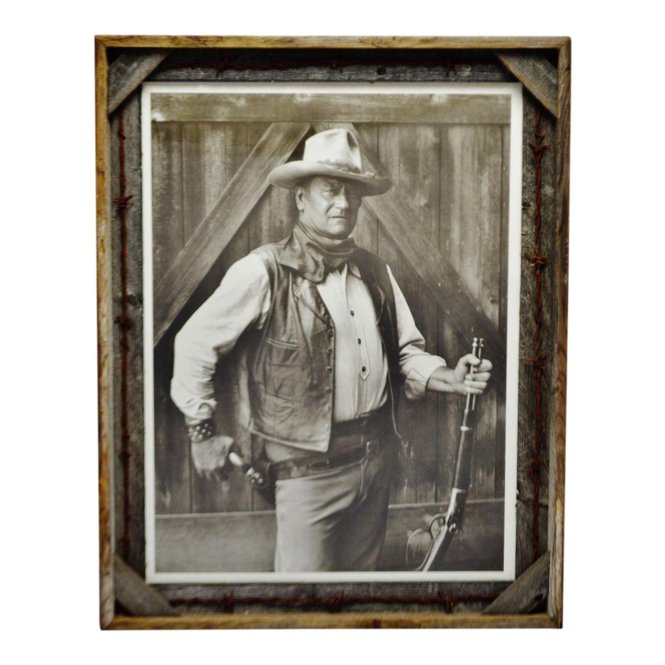 Vintage John Wayne Print With Rustic Barn Wood and Barb Wire Frame ...
