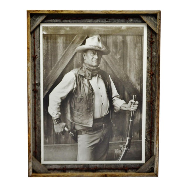 Vintage John Wayne Print With Rustic Barn Wood And Barb Wire Frame